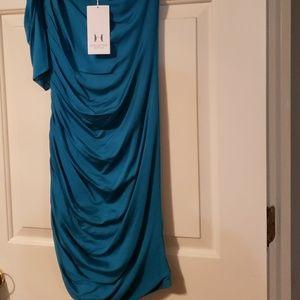 Halston Heritage aqua dress